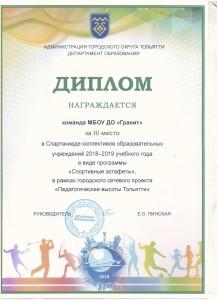 Грамота 3 м Срапартакида учрежд 2018 спортивные эстафеты